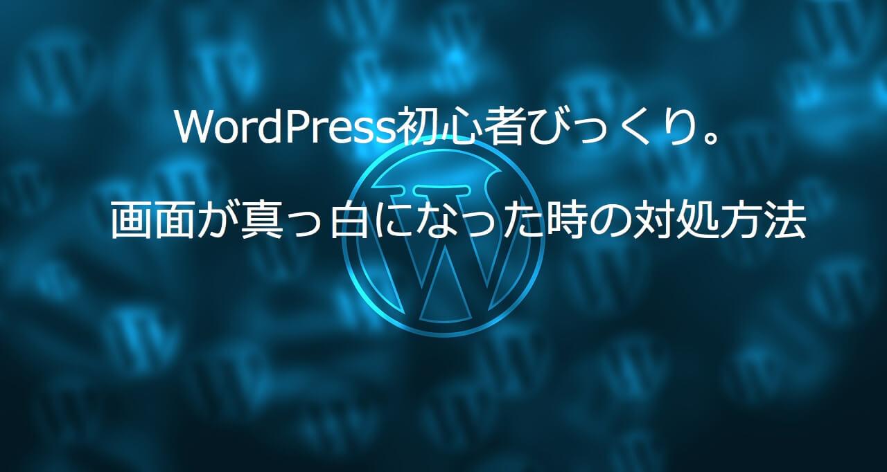WordPress初心者びっくり。画面が真っ白になった時の対処方法